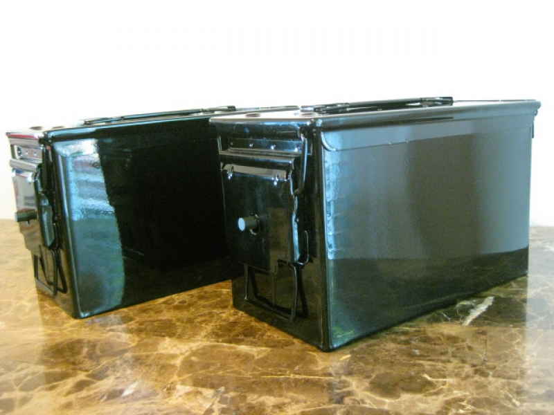 AMMO CAN HANDGUN CASE, VERY COOL, DOUBLE GUN, .50 AMMO BOX, .50 CAL, ALL GLOSS BLACK.