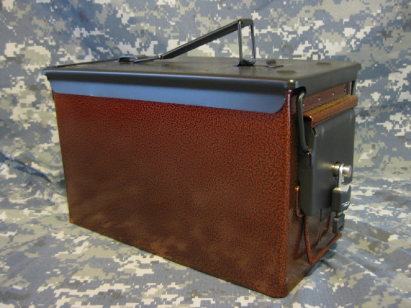 AMMO CAN HANDGUN CASE, VERY COOL, DOUBLE GUN, .50 AMMO BOX, .50 CAL, BURNT ORANGE WITH BLACK TOP