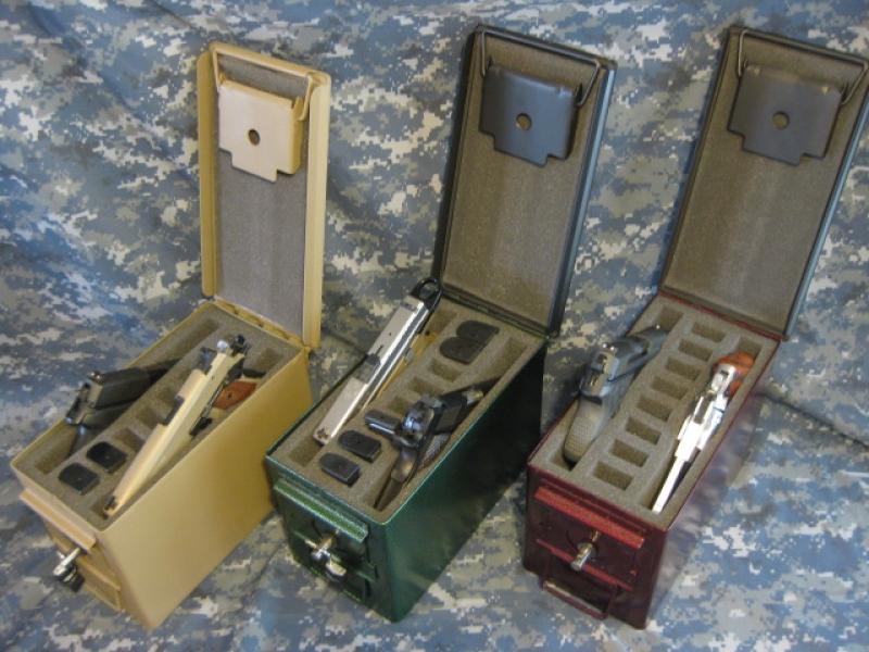 AMMO CAN HANDGUN CASE, VERY COOL, DOUBLE GUN, .50 AMMO BOX, .50 CAL, BURNT ORANGE WITH BLACK TOP