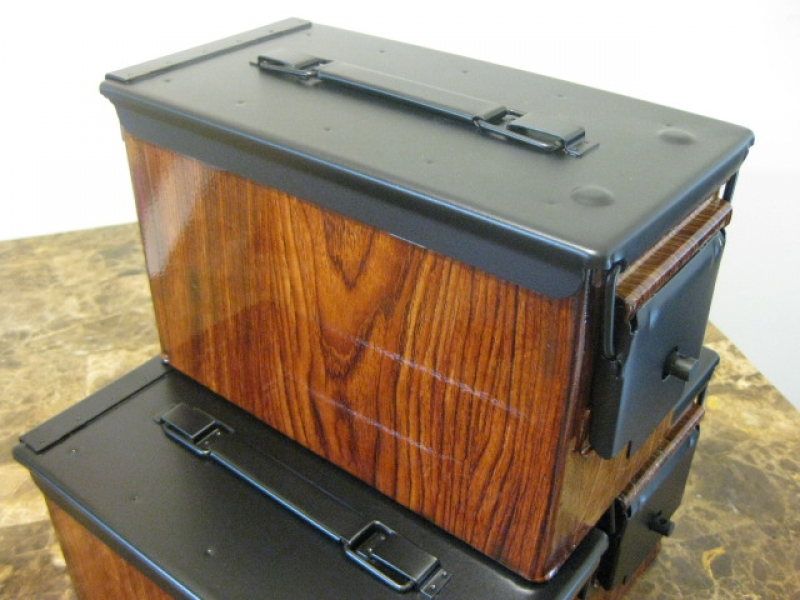 "AMMO CAN HANDGUN CASE, VERY COOL, DOUBLE GUN, .50 AMMO BOX, .50 CAL, ""WOODY"" HYDRO DIPPED WITH A BLACK LID"