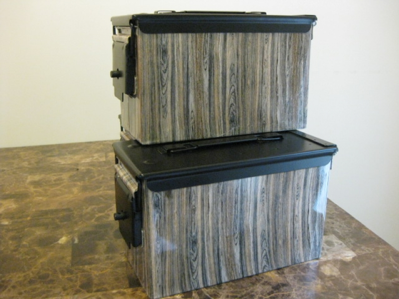 "AMMO CAN HANDGUN CASE, VERY COOL, DOUBLE GUN, .50 AMMO BOX, .50 CAL, ""BARN WOOD"" HYDRO DIPPED WITH A BLACK LID"