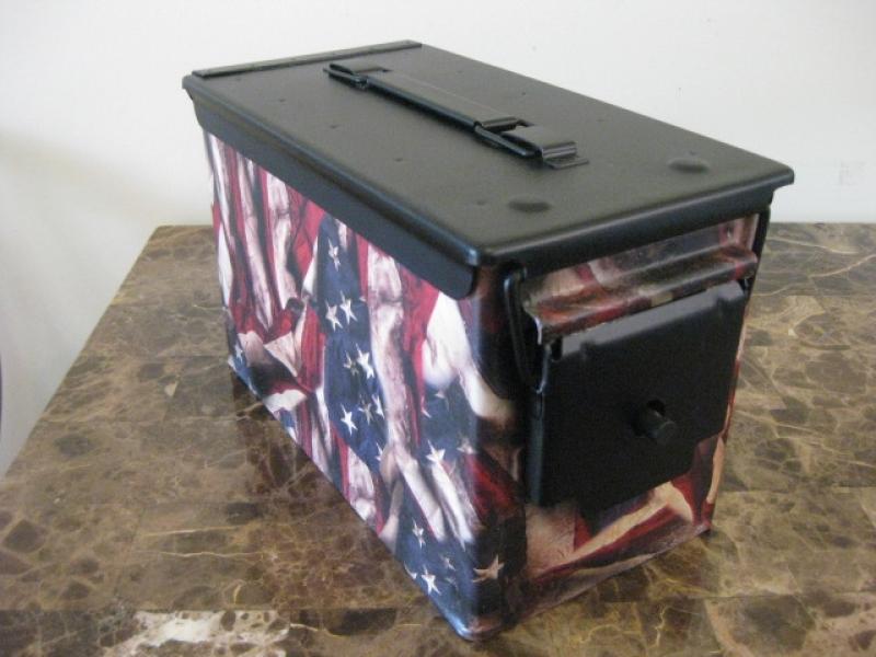 AMMO CAN HANDGUN CASE, VERY COOL, DOUBLE GUN, .50 AMMO BOX, .50 CAL, 2018 FLAG VERSION WITH BLACK TOP