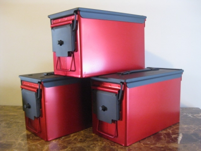 AMMO CAN HANDGUN CASE, VERY COOL, DOUBLE GUN, .50 AMMO BOX, .50 CAL, RED CHROME WITH BLACK TOP