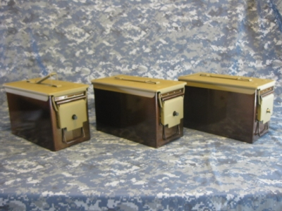 AMMO CAN HANDGUN CASE, VERY COOL, DOUBLE GUN, .50 AMMO BOX, .50 CAL, BURNT COPPER WITH COYOTE TAN TOP