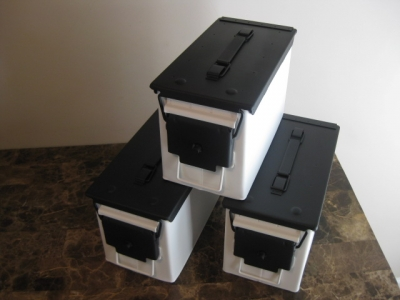 AMMO CAN HANDGUN CASE, VERY COOL, DOUBLE GUN, .50 AMMO BOX, .50 CAL, FLAT WHITE  WITH BLACK TOP