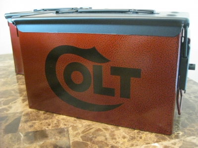 VERY COOL, DOUBLE GUN, .50 AMMO BOX, .50 CAL, BURNT ORANGE HAMMER TONE WITH BLACK COLT LOGOS AND TOP.