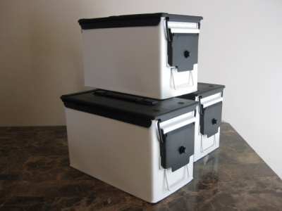 AMMO CAN HANDGUN CASE, VERY COOL, DOUBLE GUN, .50 AMMO BOX, .50 CAL, FLAT WHITE  WITH BLACK TOP