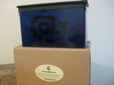 VERY COOL, DOUBLE GUN, .50 AMMO BOX, .50 CAL,  BLUE HAMMER TONE COLT LOGO WITH BLACK TOP
