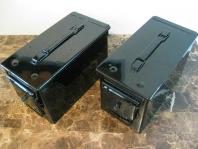AMMO CAN HANDGUN CASE, VERY COOL, DOUBLE GUN, .50 AMMO BOX, .50 CAL, ALL GLOSS BLACK.