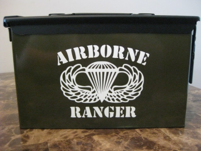 VERY COOL, DOUBLE GUN, .50 AMMO BOX, .50 CAL, OD GREEN AIRBORNE VERSION WITH BLACK TOP