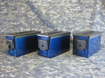 AMMO CAN HANDGUN CASE, VERY COOL, DOUBLE GUN, .50 AMMO BOX, .50 CAL, PACIFIC BLUE WITH BLACK TOP