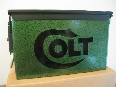 VERY COOL, DOUBLE GUN, .50 AMMO BOX, .50 CAL, GREEN HAMMER TONE WITH BLACK COLT LOGO AND TOP