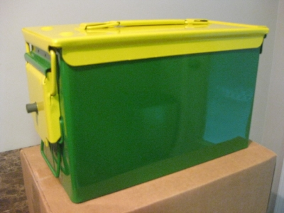 JOHN DEERE GREEN AND YELLOW .50 CAL CASE