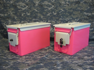 AMMO CAN HANDGUN CASE, VERY COOL, DOUBLE GUN, .50 AMMO BOX, .50 CAL, PINK WITH WHITE TOP