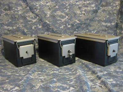 VERY COOL, DOUBLE GUN, .50 AMMO BOX, .50 CAL, FLAT BLACK WITH TITANIUM TOP
