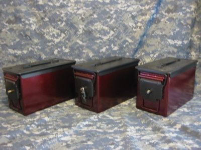 AMMO CAN HANDGUN CASE, VERY COOL, DOUBLE GUN, .50 AMMO BOX, .50 CAL, CRIMSON RED WITH BLACK TOP