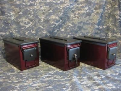 AMMO CAN HANDGUN CASE, VERY COOL, DOUBLE GUN, .50 AMMO BOX, .50 CAL, CRIMSON RED WITH BLACK TOP