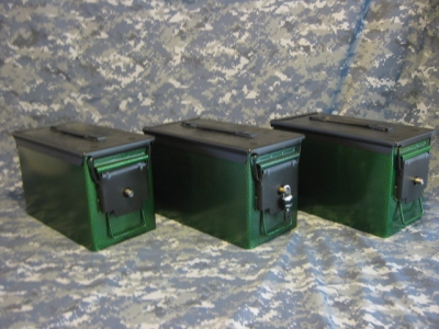 AMMO CAN HANDGUN CASE, VERY COOL, DOUBLE GUN, .50 AMMO BOX, .50 CAL,, EMERALD GREEN