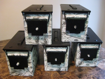 "AMMO CAN HANDGUN CASE, VERY COOL, DOUBLE GUN, .50 AMMO BOX, .50 CAL, ""BIG MONEY"" Hydro Dipped"