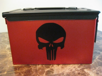 AMMO CAN HANDGUN CASE, VERY COOL, DOUBLE GUN, .50 AMMO BOX, .50 CAL, RED CHROME WITH PUNISHER LOGO EACH SIDE WITH BLACK TOP