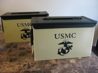 VERY COOL, DOUBLE GUN, .50 AMMO BOX, .50 CAL, TAN USMC VERSION WITH BLACK TOP