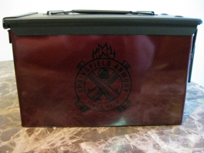 VERY COOL, DOUBLE GUN, .50 AMMO BOX, .50 CAL, SPRINGFIELD ARMORY VERSION IN RED HAMMERTONE!