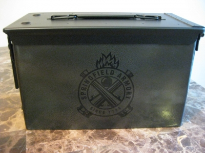 VERY COOL, DOUBLE GUN, .50 AMMO BOX, .50 CAL, SPRINGFIELD ARMORY VERSION IN CHARCOAL HAMMERTONE!