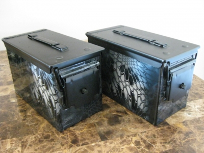 AMMO CAN HANDGUN CASE, VERY COOL, DOUBLE GUN, .50 AMMO BOX, .50 CAL, Kryptek Typhon Hydro Dipped
