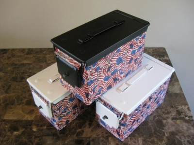 "***LIMITED EDITION*** AMMO CAN HANDGUN CASE, VERY COOL, DOUBLE GUN, .50 AMMO BOX, .50 CAL, ""4TH OF JULY"" HYDRO DIPPED WITH FLAT BLACK OR FLAT WHITE LID, YOUR CHOICE."