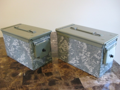 AMMO CAN HANDGUN CASE, VERY COOL, DOUBLE GUN, .50 AMMO BOX, .50 CAL, DIGITAL CAMO HYDRO DIPPED WITH A GREEN LID