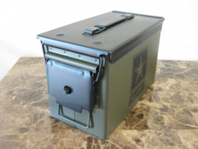 AMMO CAN HANDGUN CASE, VERY COOL, DOUBLE GUN, .50 AMMO BOX, .50 CAL, NEW ARMY VERSION WITH BLACK TOP