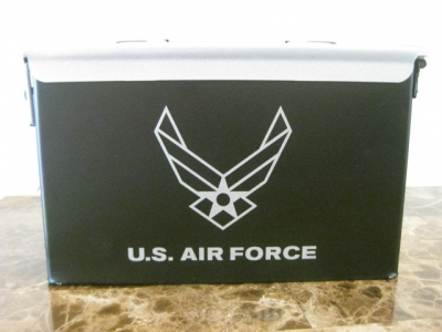 AMMO CAN HANDGUN CASE, VERY COOL, DOUBLE GUN, .50 AMMO BOX, .50 CAL, NEW AIR FORCE VERSION  WITH SILVER TOP
