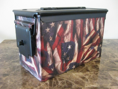AMMO CAN HANDGUN CASE, VERY COOL, DOUBLE GUN, .50 AMMO BOX, .50 CAL, 2018 FLAG VERSION WITH BLACK TOP