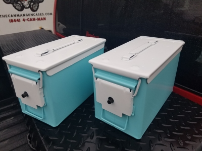 VERY COOL, DOUBLE GUN, .50 AMMO BOX, .50 CAL, TIFFANY BLUE VERSION WITH PEARL WHITE TOP